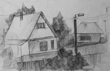 Village, pencil sketch