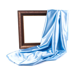 Empty frame with blue silk