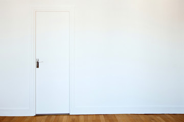 white door on white wall, real estate background