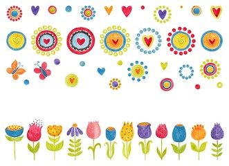 Watercolors decorative elements and flowers