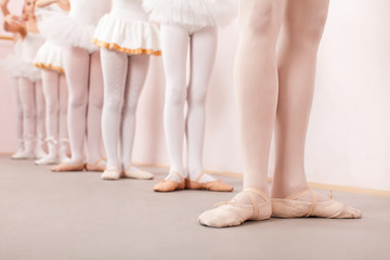 Group of  little ballerinas practicing ballet with their teacher