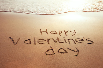 Valentine's Day card, greetings on the beach