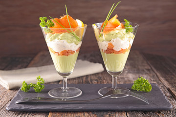 Wall Murals Appetizer salmon, avocado and cheese cream