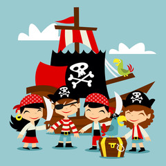 Retro Pirate Adventure Kids Scene