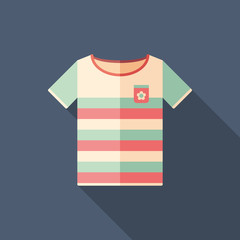 Colorful beach t-shirt flat square icon with long shadows.