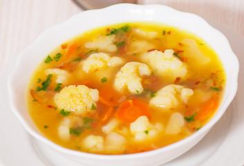Fresh vegetable cauliflower soup