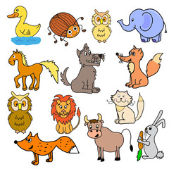 Set of multicolored different animals