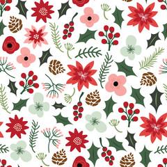 Vintage Hand Drawn Christmas Botanical Foliage Flowers Pattern B