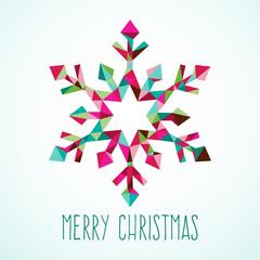 Modern Geometric Triangle Christmas Winter Snowflake