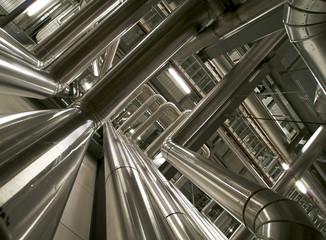 Keuken foto achterwand Industrial geb. Industrial zone, Steel pipelines, valves and cables