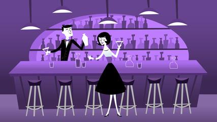 Mid Century Modern Retro Bar Scene