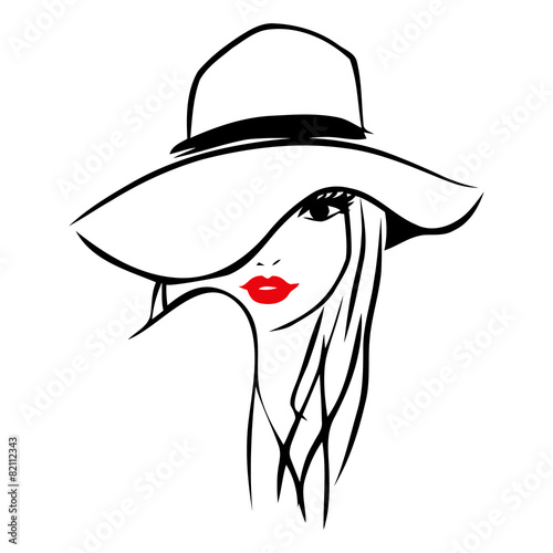 Line Drawing Hat : Quot vector ink line art lady wearing floppy hat stock image