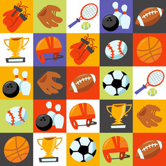 Fun Wonky Sporting Icons Tiles Background