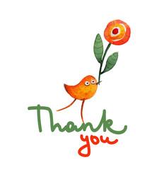 Bird with flower. Thank you. Gratitude. Vector