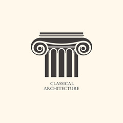 Classical column architecture element. Logo concept for construc