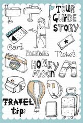 Hand drawn travel set 03