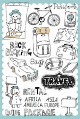 Hand drawn travel set 02