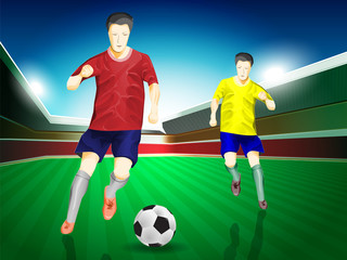 soccer player in match, vector design concept