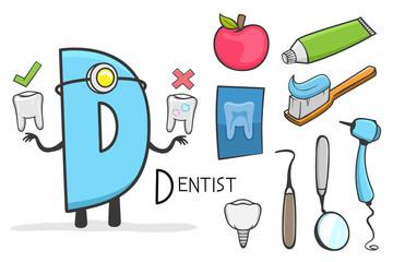 Illustration of alphabet occupation - Letter D for Dentist