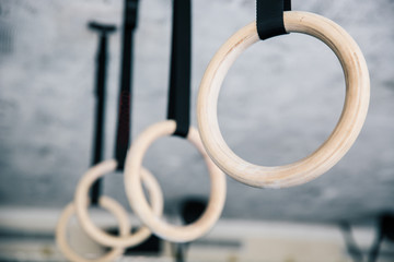 Closeup image of a fitness rings