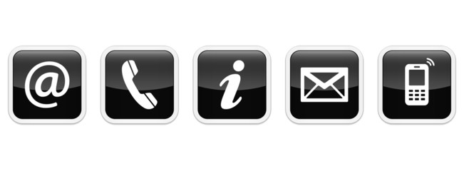 Contact Us – Square glossy black sticker buttons