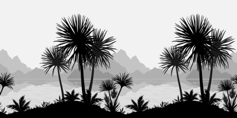 Seamless landscape, palms, sea and mountains