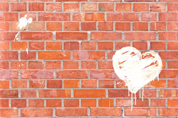 Graffiti-Herz auf eine Mauer gerendert mit Platz für Text