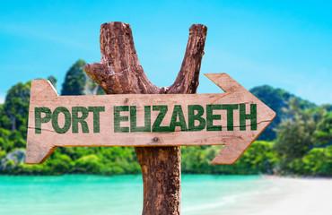 Port Elizabeth wooden sign with beach background
