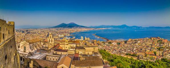 Garden Poster Napels Naples sunset panorama, Campania, Italy