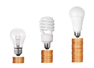 set of Light Bulb LED  CFL Fluorescent  isolated on white backgr