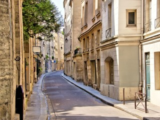 Quaint street in the Latin Quarter of Paris, France