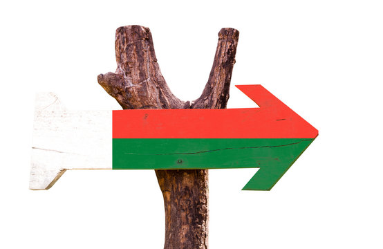 Madagascar Flag wooden sign isolated on white background