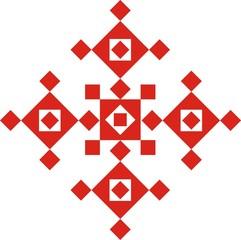 Цветочный красный векторный орнамент