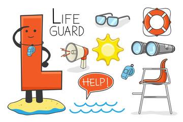 Illustration of alphabet occupation - Letter L for Lifeguard
