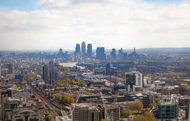 LONDON, UK - APRIL 22, 2015:  City of London and Canary Wharf