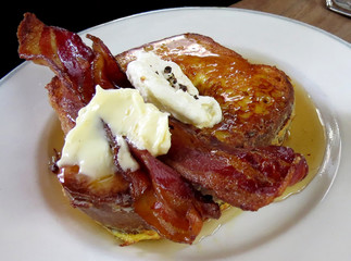 French toast with bacon and syrup