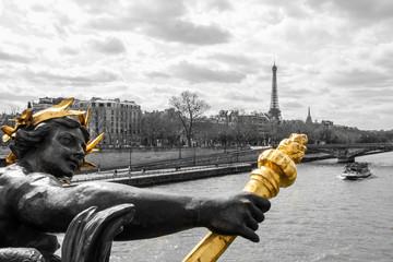 Pont Alexandre III., Brücke, Statue, colorkey