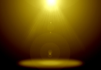 Poster UFO Abstract image of gold lighting flare on the floor stage.
