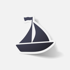 Paper clipped sticker: sailing ship