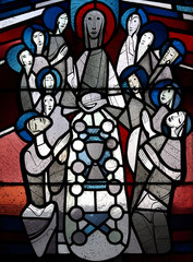 Fototapete - The last supper in stained glass