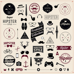 Set of Vintage styled design Hipster icons Vector illustration