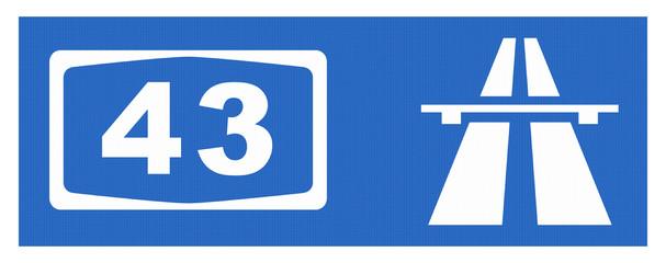 A43-Symbol mit Reflektierung