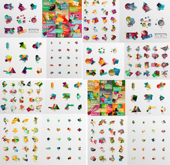 Super mega set of abstract geometric paper graphic layouts