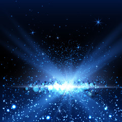 Blue spotlight background.