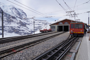 Train station in the Swiss Alps.