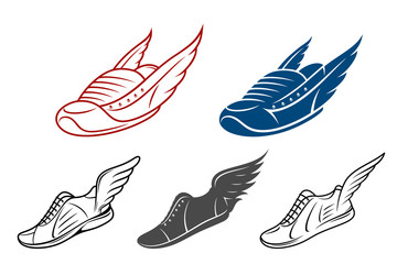 Running winged shoe icons, sneaker or sports shoe with wings
