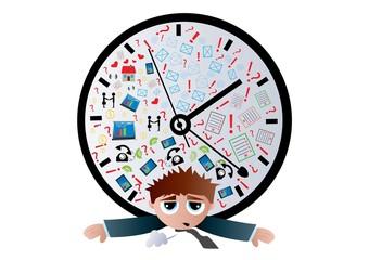 Czas pracy, brak życia,zegar,człowiek