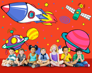 Door stickers Planets Aircraft Drawing Earth Launch Concept