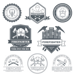 firefighter label template of emblem element for your product or