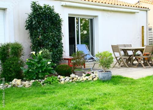 terrasse am nag e plantes et fauteuil d tente fotos de. Black Bedroom Furniture Sets. Home Design Ideas